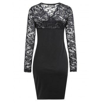 Lace Trim V Neck Long Sleeve Bodycon Dress - BLACK XL