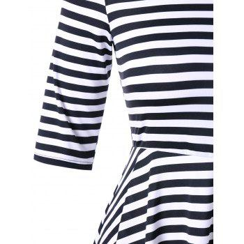 Plus Size High Low Striped Tunic T-shirt - BLACK STRIPE 5XL