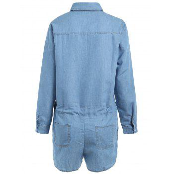 Turn-Down Collar Casual Long Sleeve Denim Romper - LIGHT BLUE XL