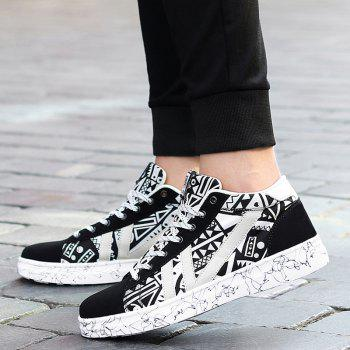 Tie Up Geometric Pattern Casual Shoes - BLACK WHITE 40