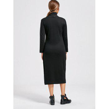 High Neck Long Sleeve Midi Bodycon Dress - BLACK BLACK