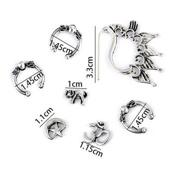 Punk Style Ear Cuffs Stud Earrings and Ear Climber - SILVER