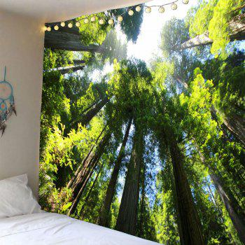Tree Forest Waterproof Wall Tapestry - GREEN GREEN