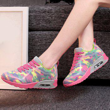 Air Cushion Floral Print Athletic Shoes - RED/GREEN 37