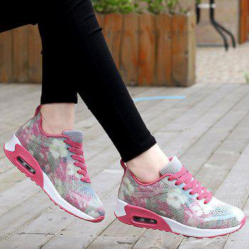 Air Cushion Floral Print Athletic Shoes - RED/WHITE 38
