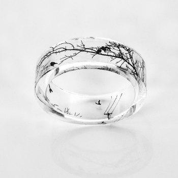 Bird Tree Branch Resin Transparent Ring - TRANSPARENT TRANSPARENT