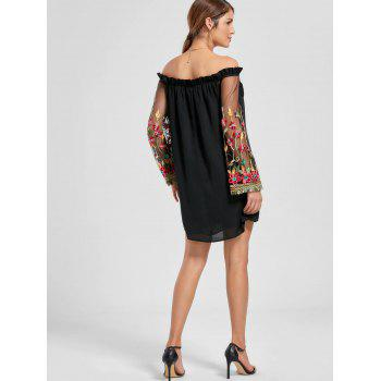 Embroidery Flare Sleeve Off The Shoulder Dress - BLACK XL