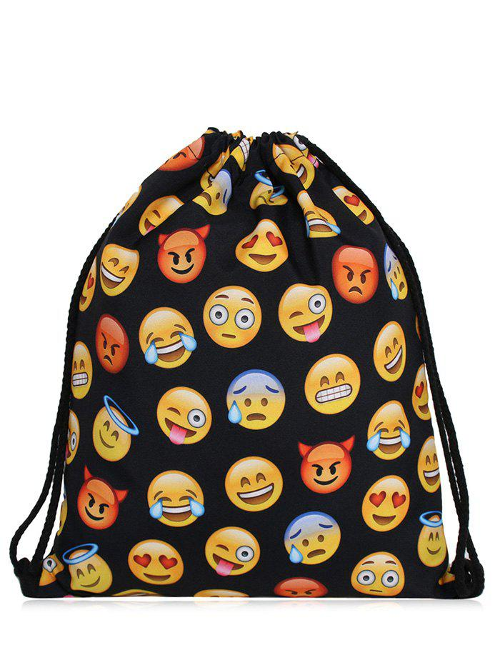 Emoji Print Funny Drawstring Bag - YELLOW/BLACK