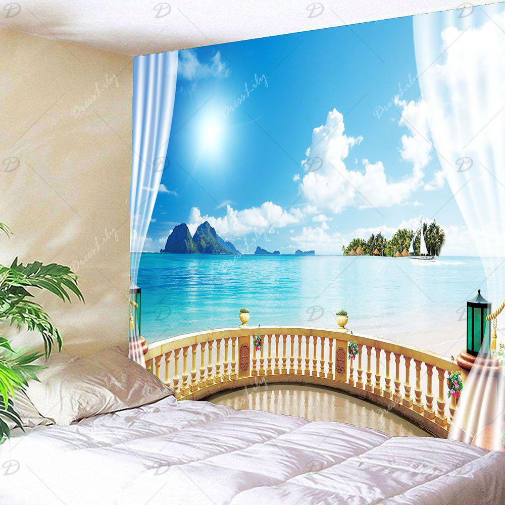 Waterproof Window Seascape Wall Tapestry - BLUE W59 INCH * L59 INCH