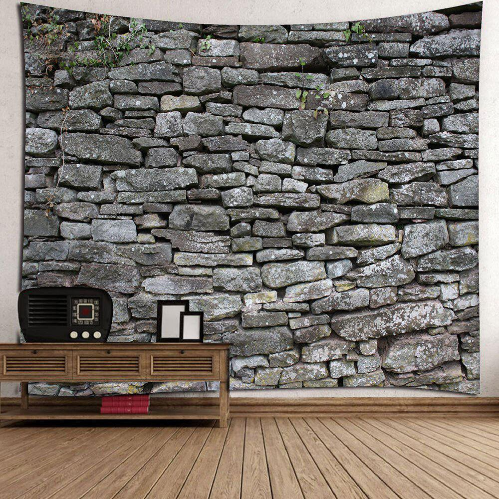 Stone Print Waterproof Wall Decor Tapestry - GRAY W91 INCH * L71 INCH