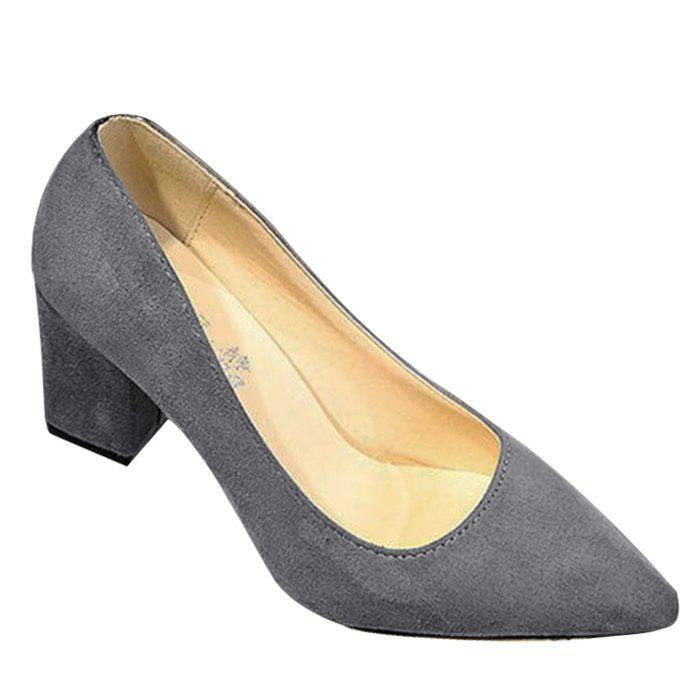 Block Heel Pointy Pumps - Gris 37