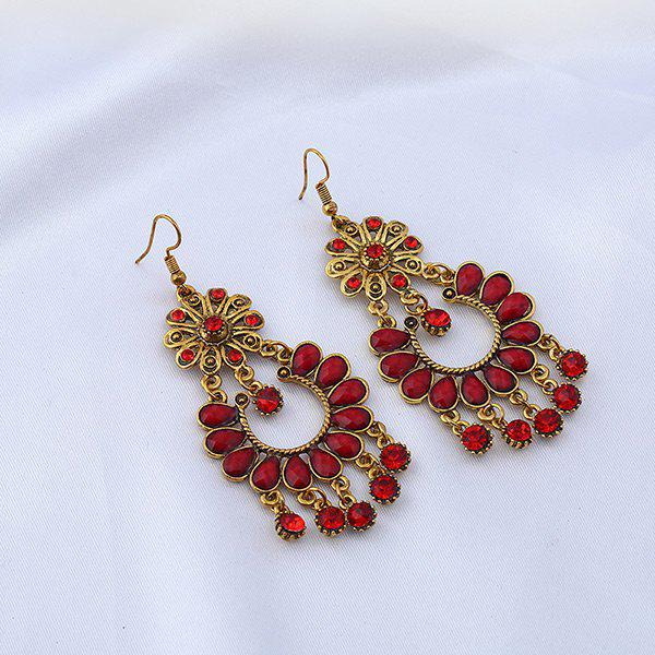 Rhinestone Floral Chandelier Teardrop Earrings floral rhinestone teardrop earrings