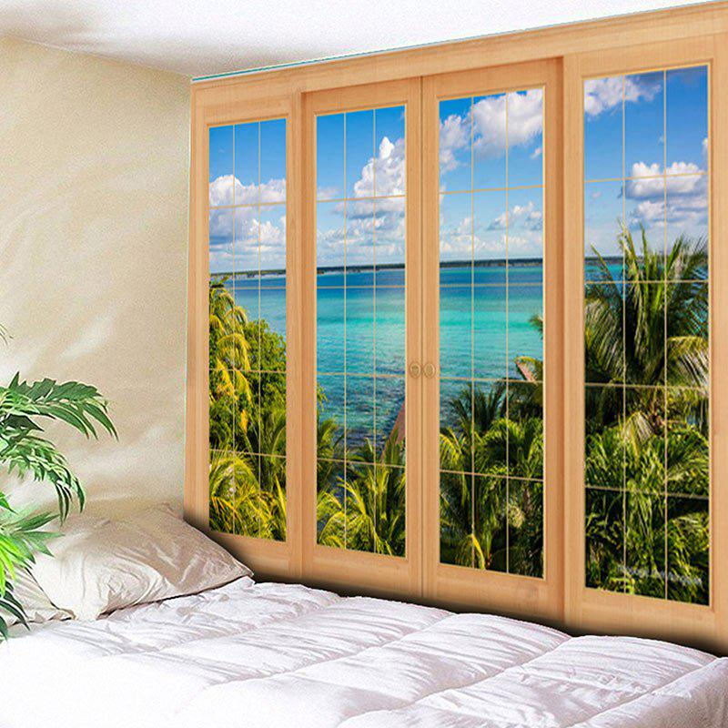 Window Scenery Tapestry Printed Wall Hanging window scenery rice field printed wall tapestry