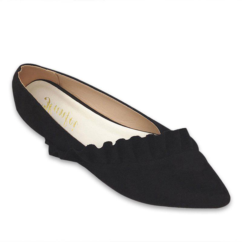 Ruffles Point Toe Faux Suede Flats - Noir 39