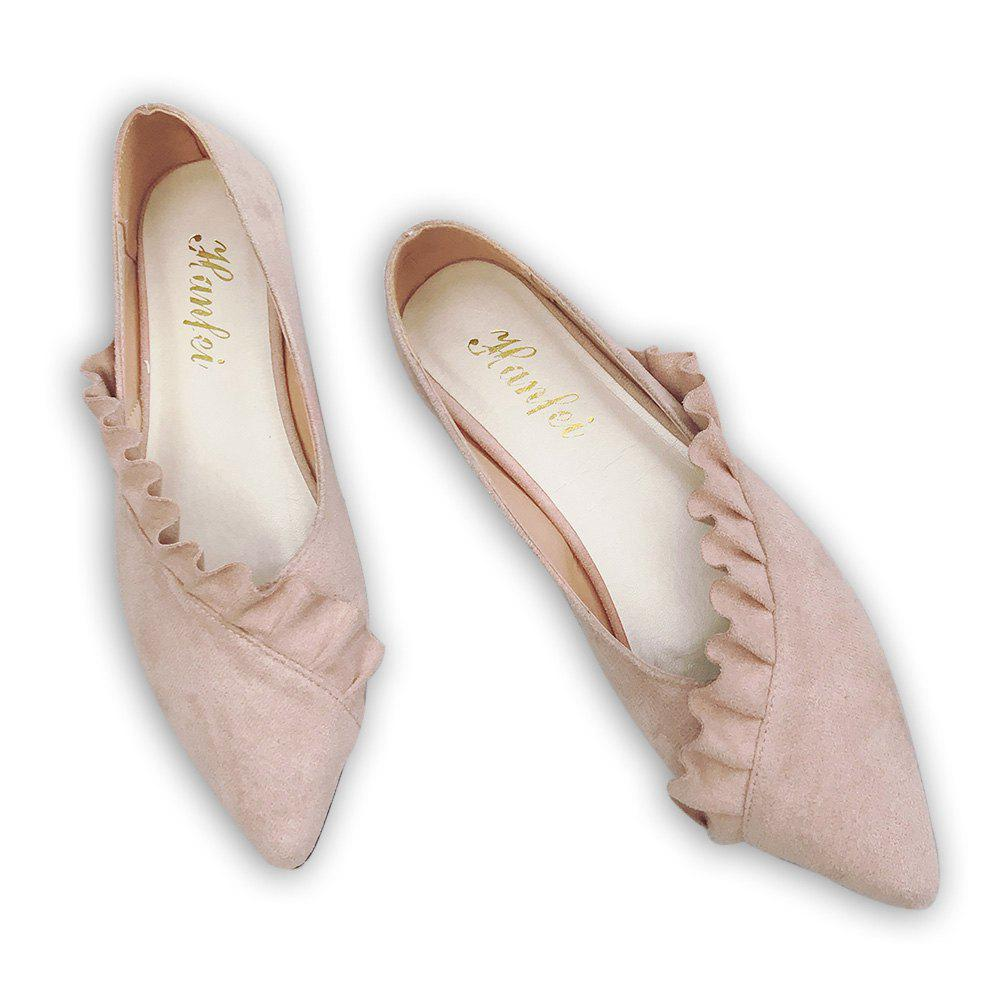Ruffles Point Toe Faux Suede Flats - ROSE PÂLE 39