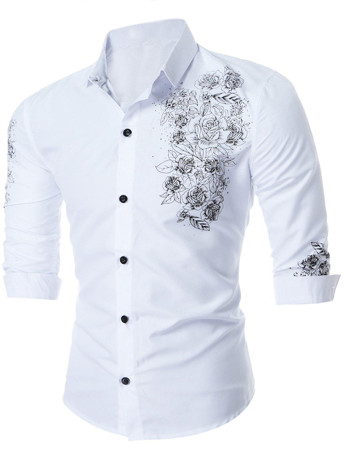 Floral Printed Long Sleeve Shirt - WHITE XL