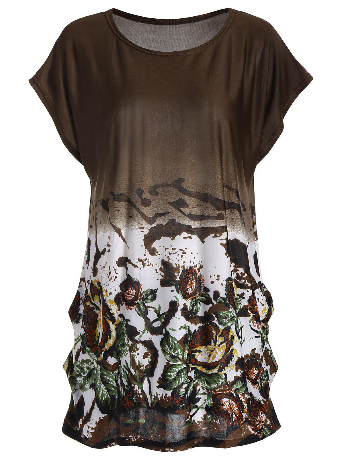 Ombre Floral Long Tunic T-shirt - BROWN ONE SIZE