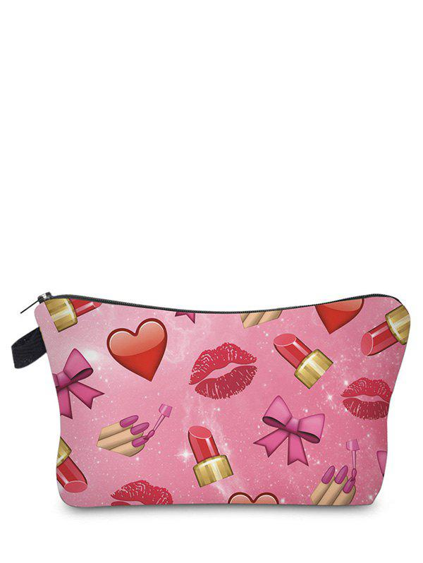 Sac de maquillage imprimé Emoji - Rose rouge