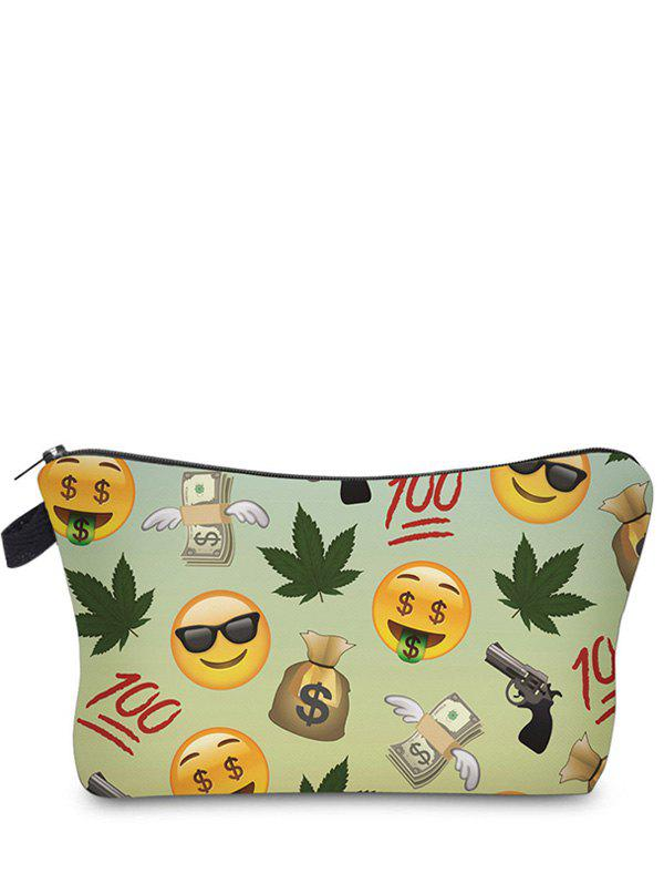 Emoji Printed Makeup Bag - LIGHT GREEN