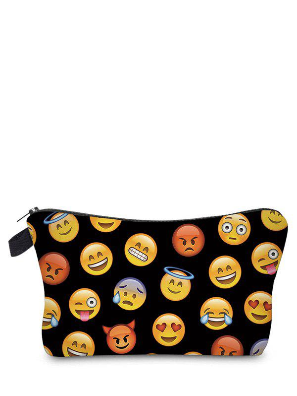Emoji Printed Makeup Bag - BLACK