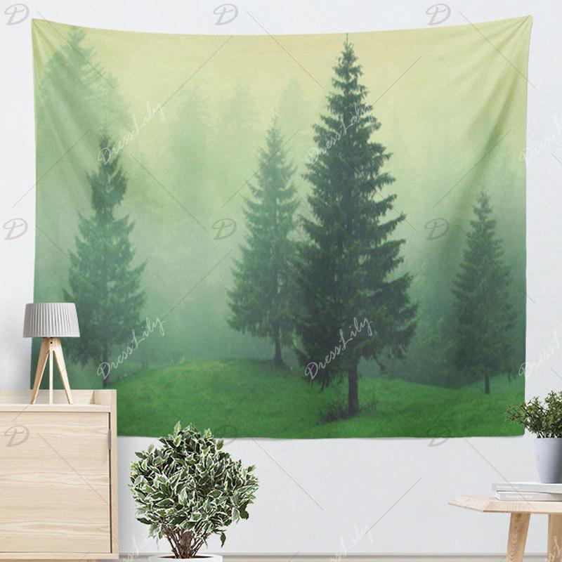 Fog Forest Printed Wall Hanging Tapestry - GREEN W59 INCH * L59 INCH