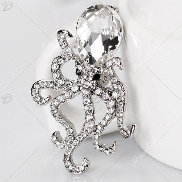 Rhinestone Faux Crystal Inlay Octopus Brooch - SILVER