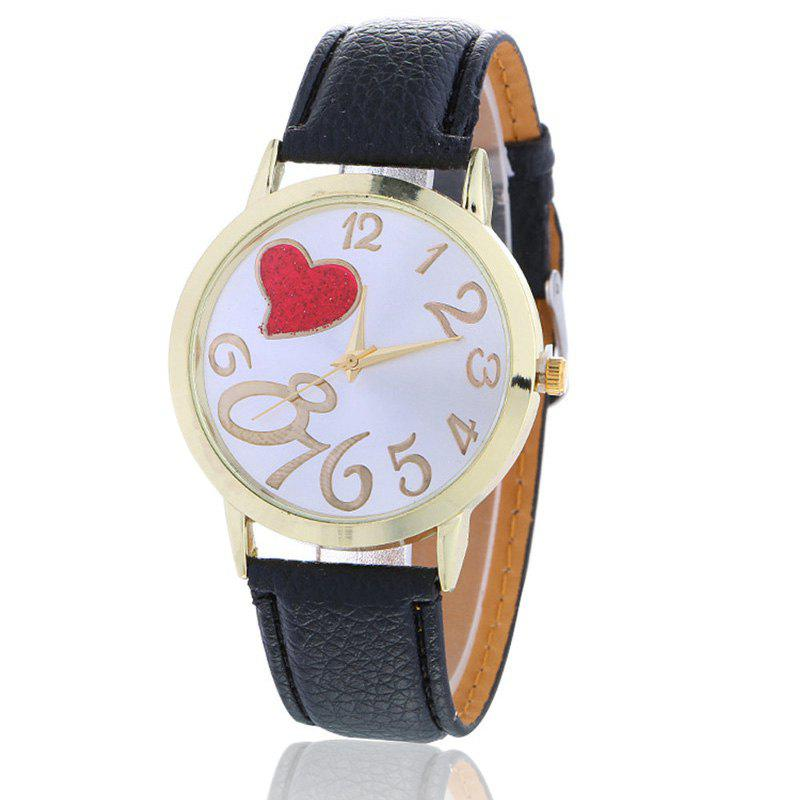 Number Heart Face Faux Leather Watch, Black