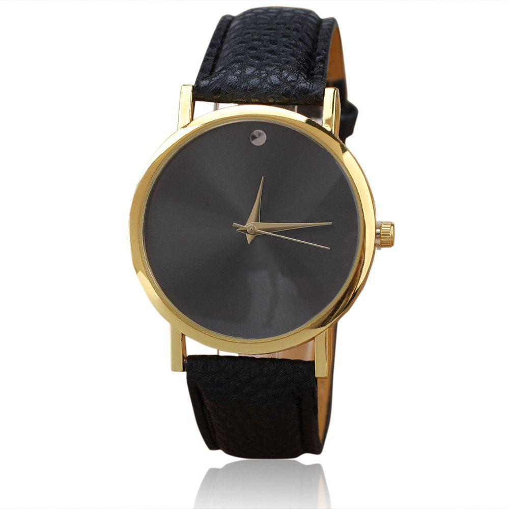 Minimalist Faux Leather Round Watch - BLACK
