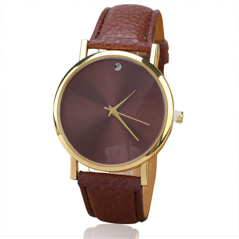 Minimalist Faux Leather Round Watch - BROWN