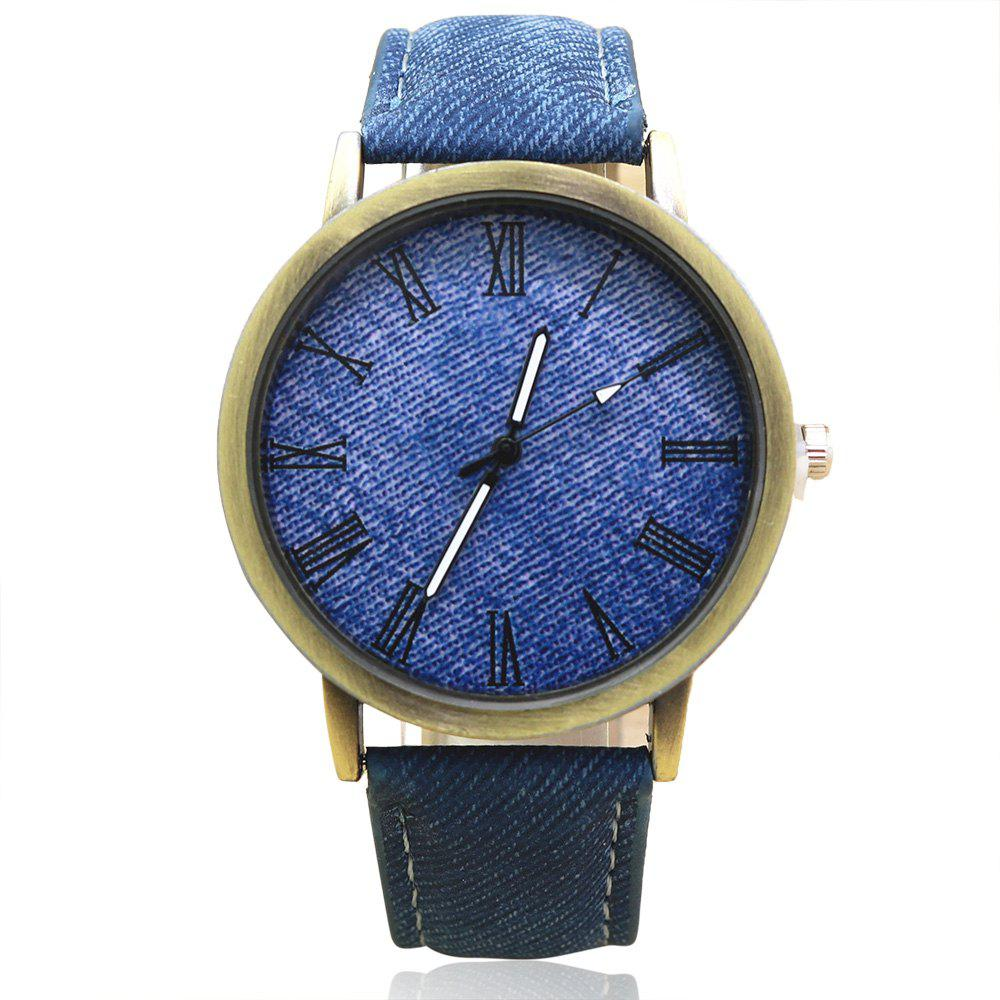Roman Numeral Faux Leather Strap Analog Watch - BLUE