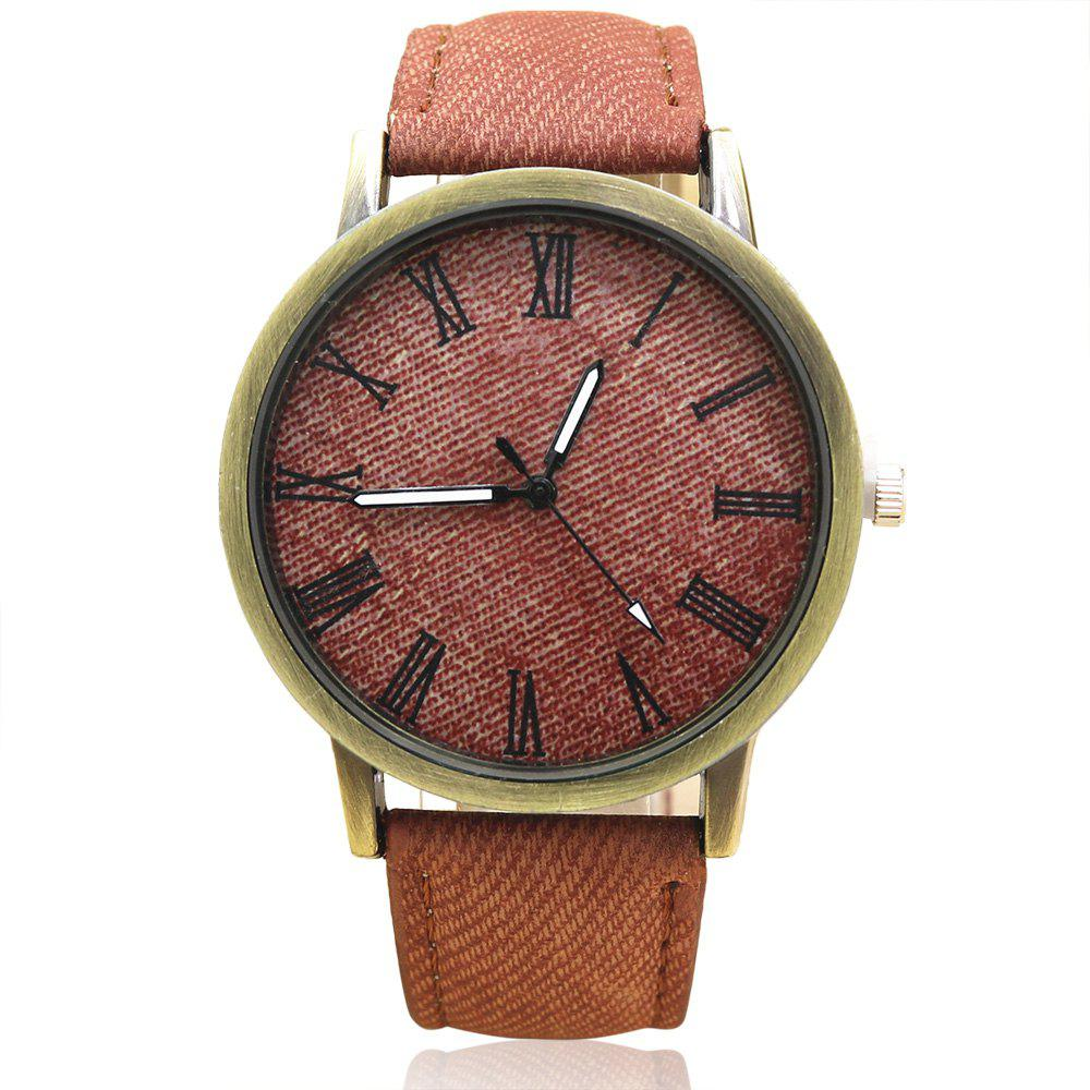 Roman Numeral Faux Leather Strap Analog Watch floral bird roman numeral faux leather watch