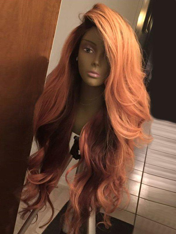 Deep Side Part Shaggy Layered Long Wavy Synthetic Wig - COLORMIX