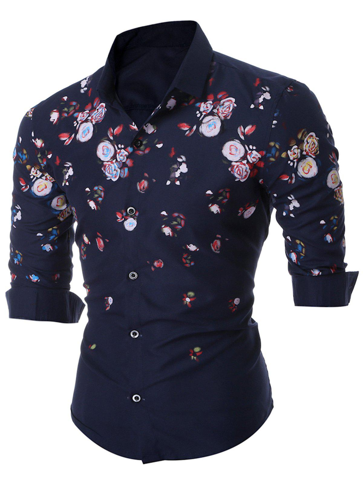 Floral Patterned Long Sleeve Shirt