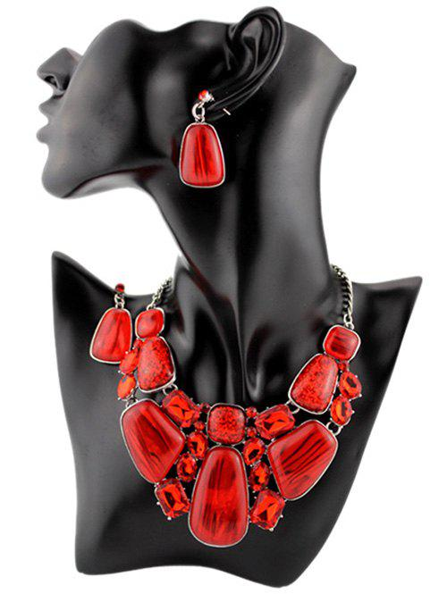 Retro Faux Gemstone Statement Necklace Set - RED