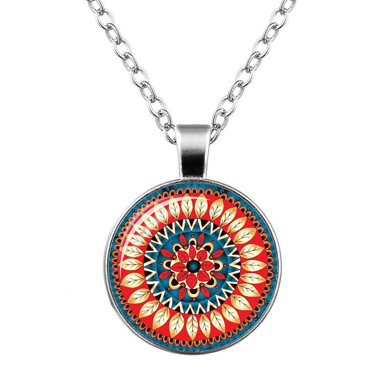 Faux Gem Flower Bohemian Pendant Necklace - Orange