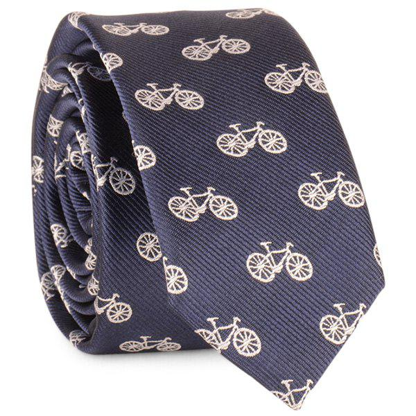 Cartoon Bicycle Printed Neck Tie - DEEP BLUE