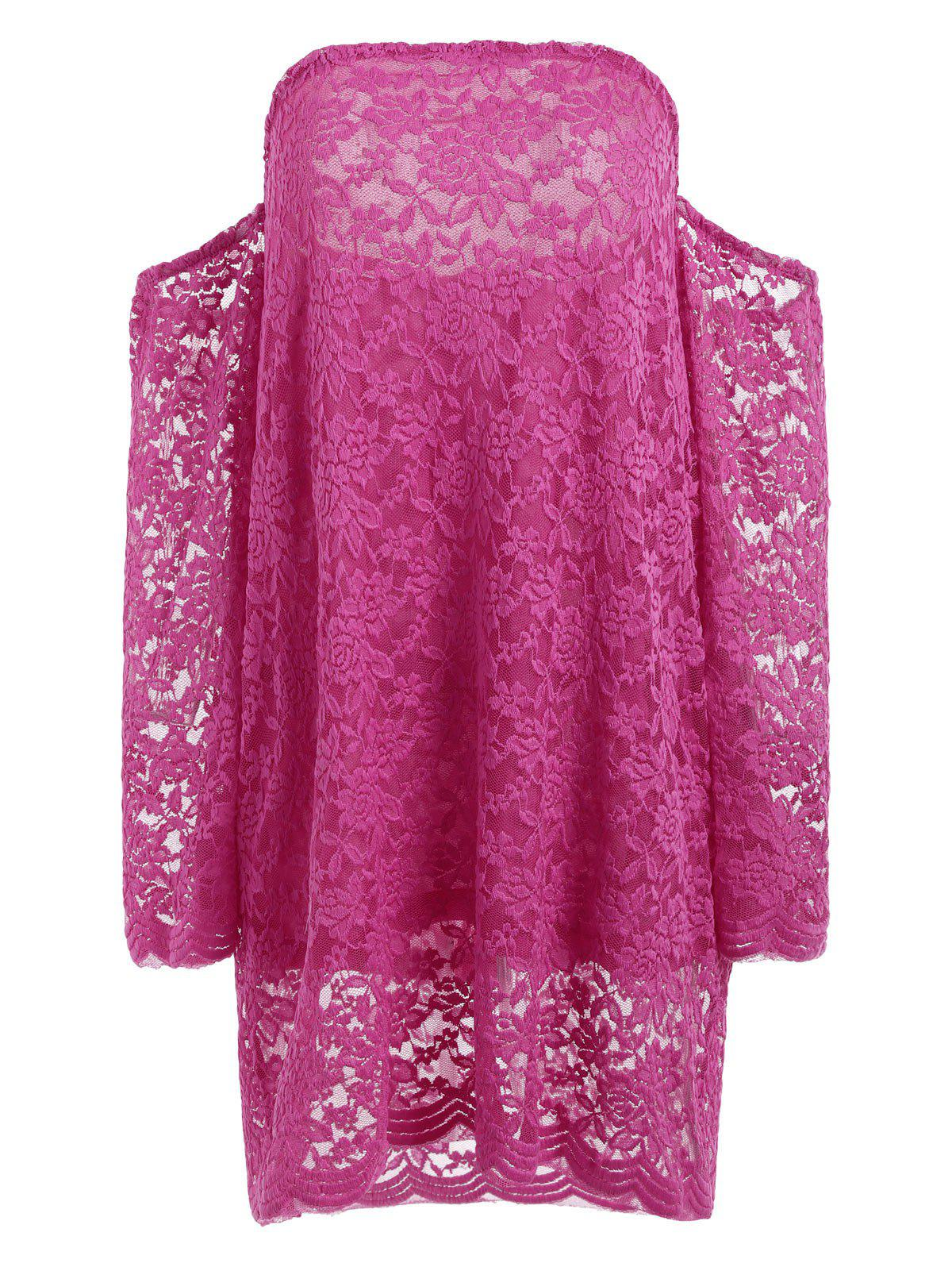 Long Sleeve Lace Off The Shoulder Dress - ROSE L