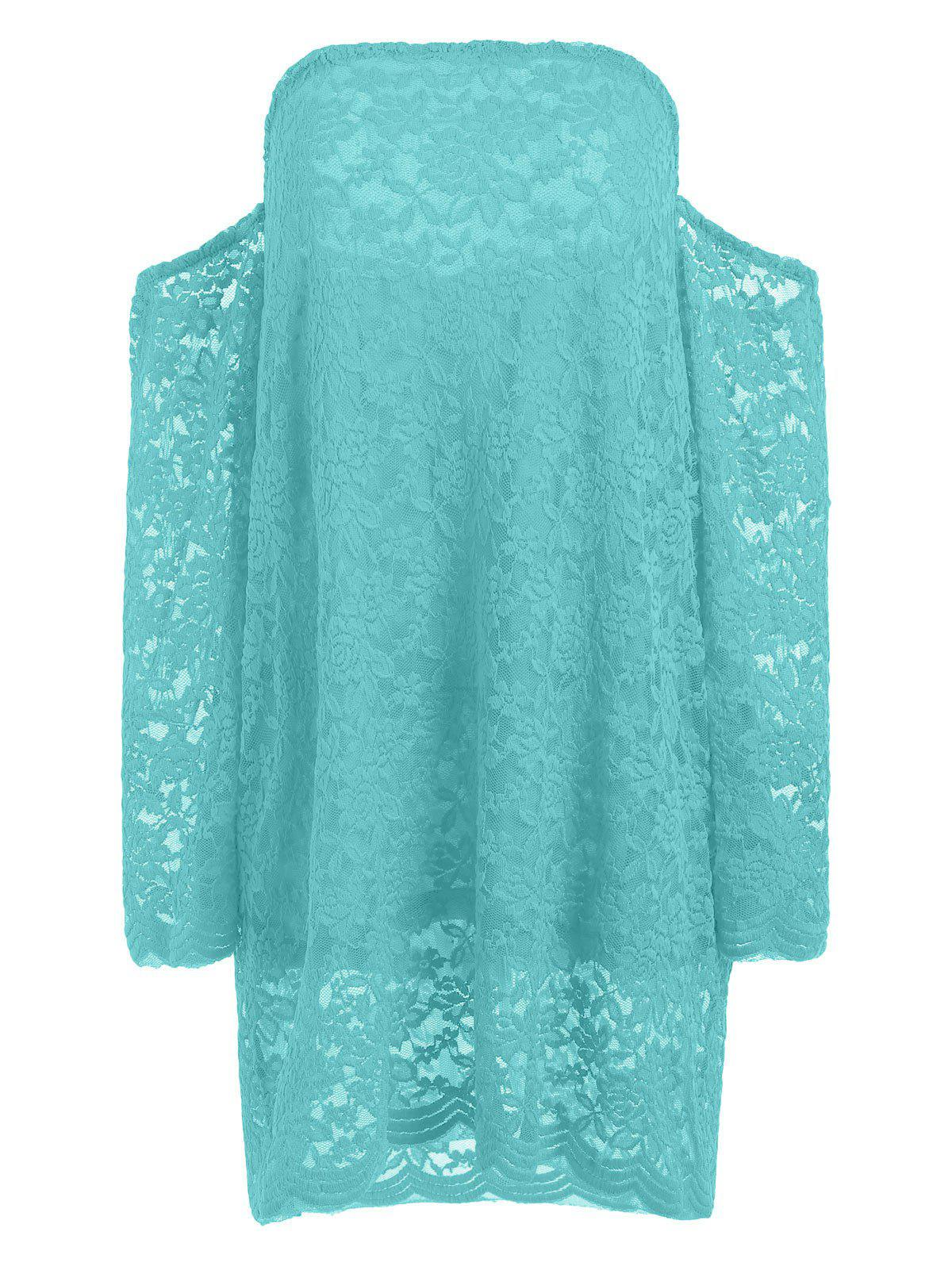 Long Sleeve Lace Off The Shoulder Dress - GREEN S