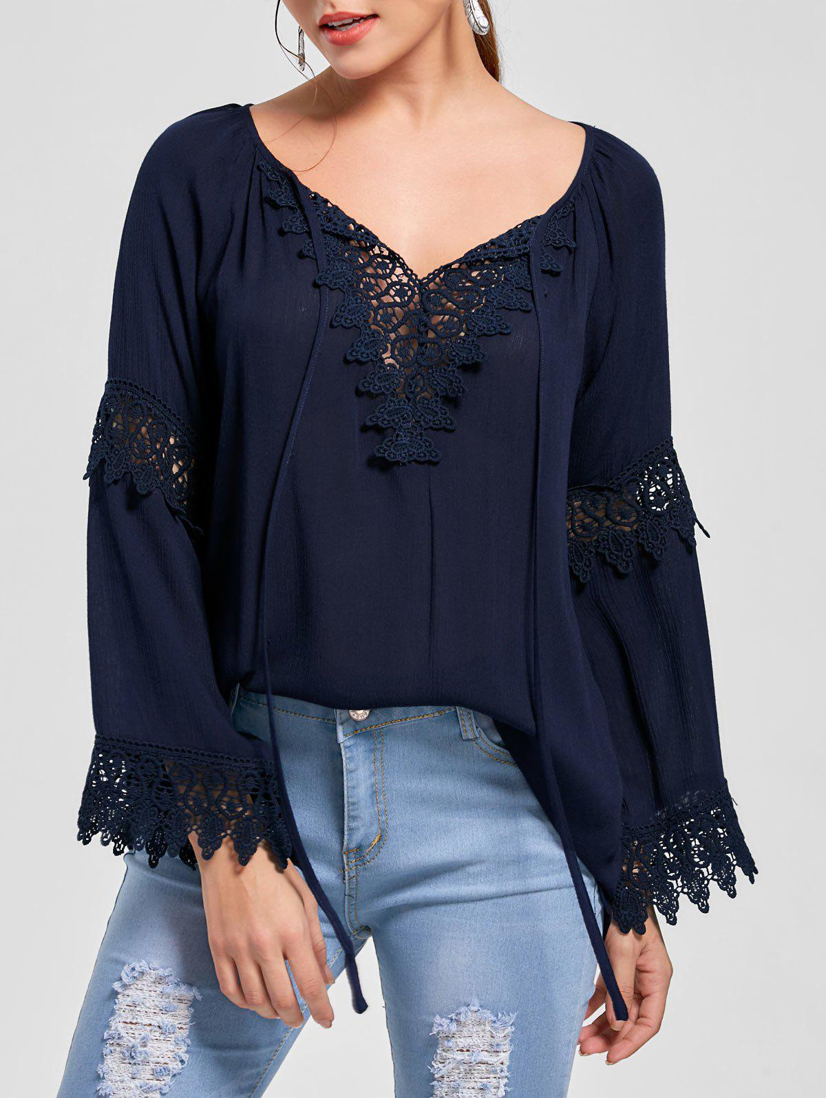 Lace Insert Flare Sleeve Bohemian Blouse - PURPLISH BLUE 2XL