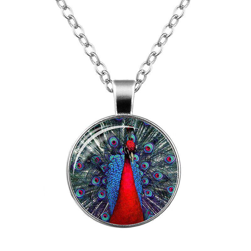 Faux Gemstone Plume Collier Pendentif Peacock - Rouge