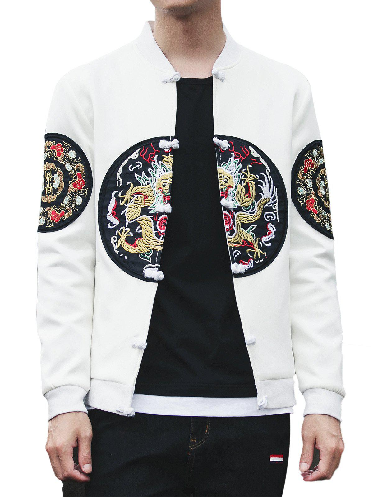 Chinoiserie Graphic Embroidered Jacket flowers branch embroidered chinoiserie fabric corset belt