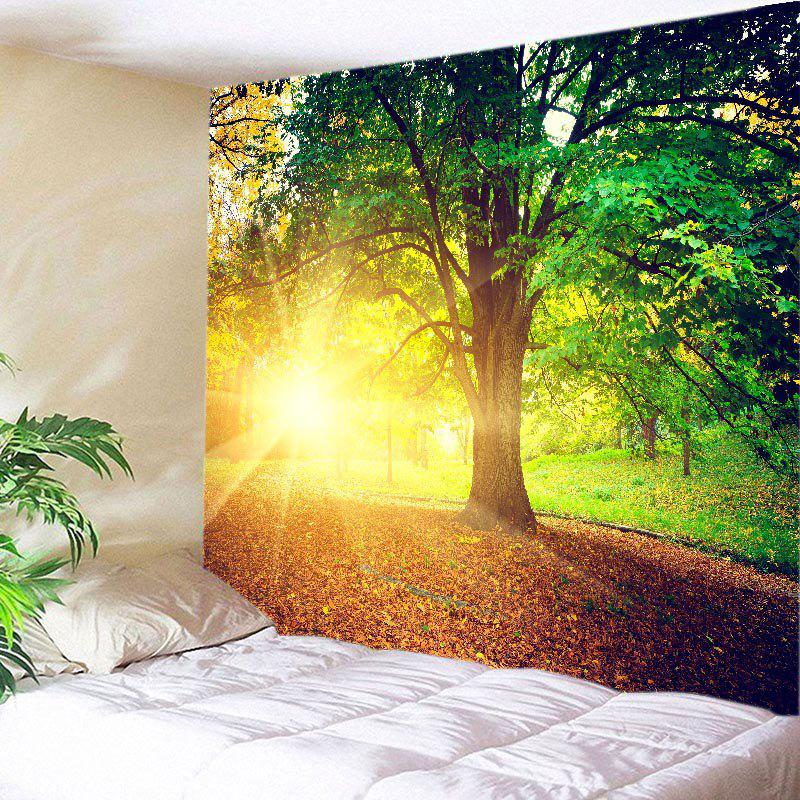Sunshine Tree Print Tapestry Wall Hanging Art - GREEN W79 INCH * L59 INCH