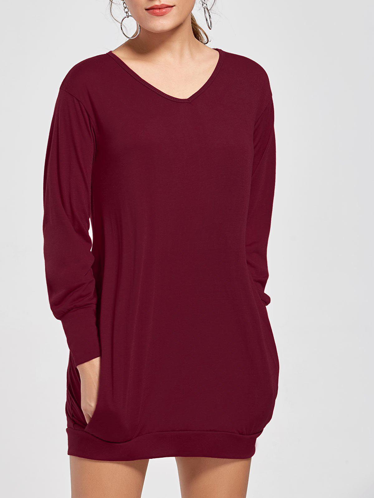 Stylish Plunging Neck Long Sleeve Pocket Design Solid Color Women's Dress - WINE RED M