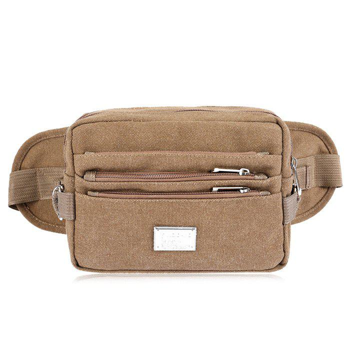 Casual Multi Zips Canvas Waist Bag - COFFEE