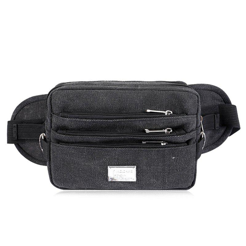 Casual Multi Zips Canvas Waist Bag - BLACK