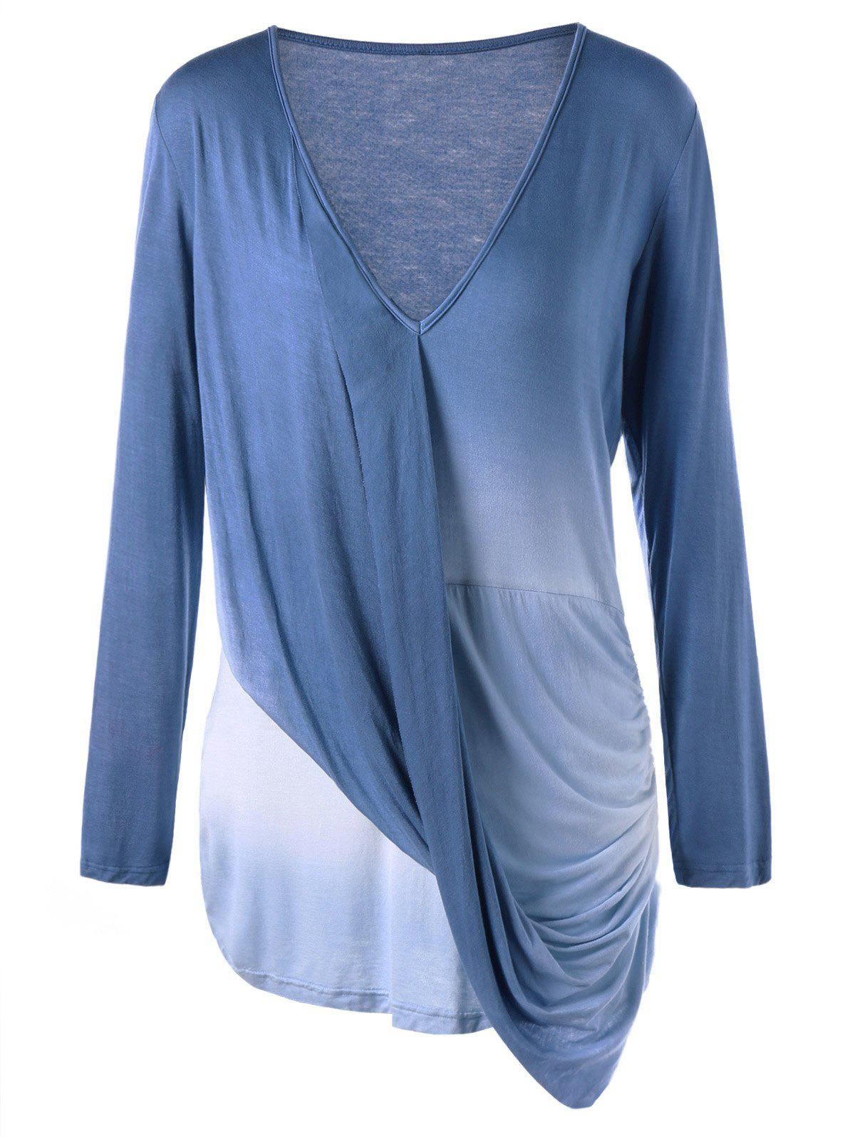 Plus Size Ombre Long Sleeve Draped Top - COLORMIX 3XL