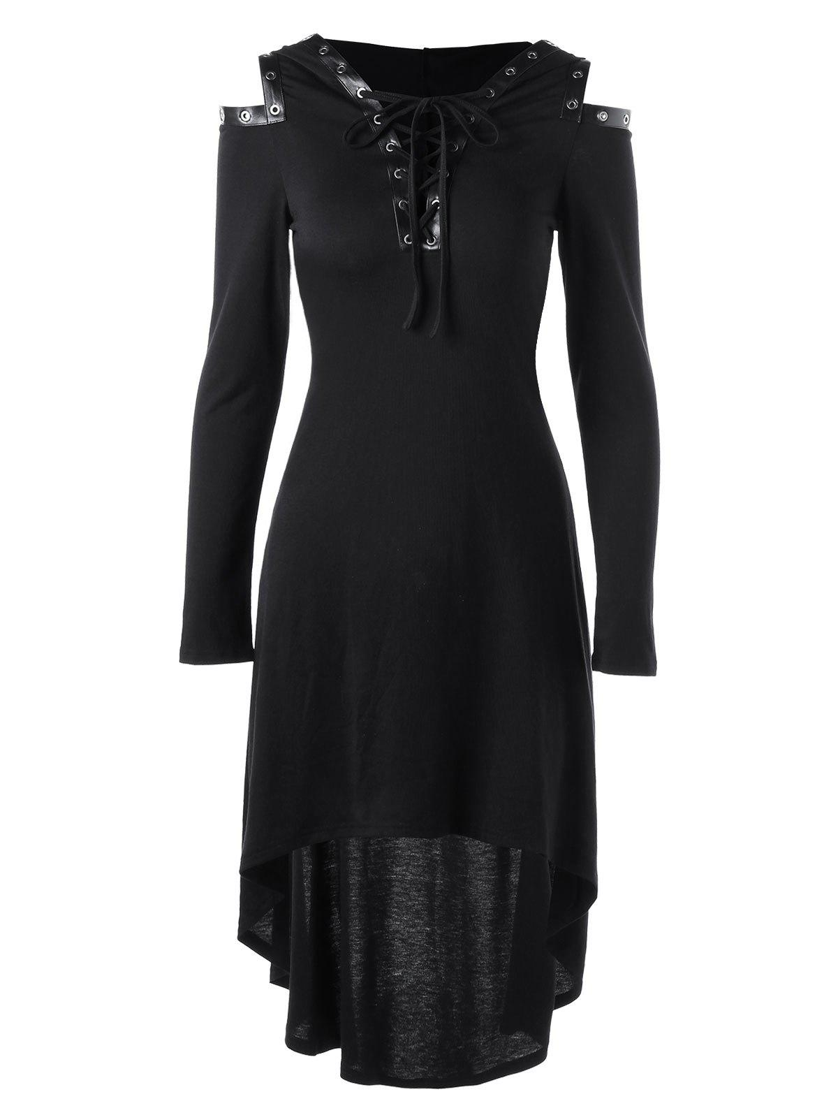 Lace Up Cold Shoulder Hooded Dress - BLACK M