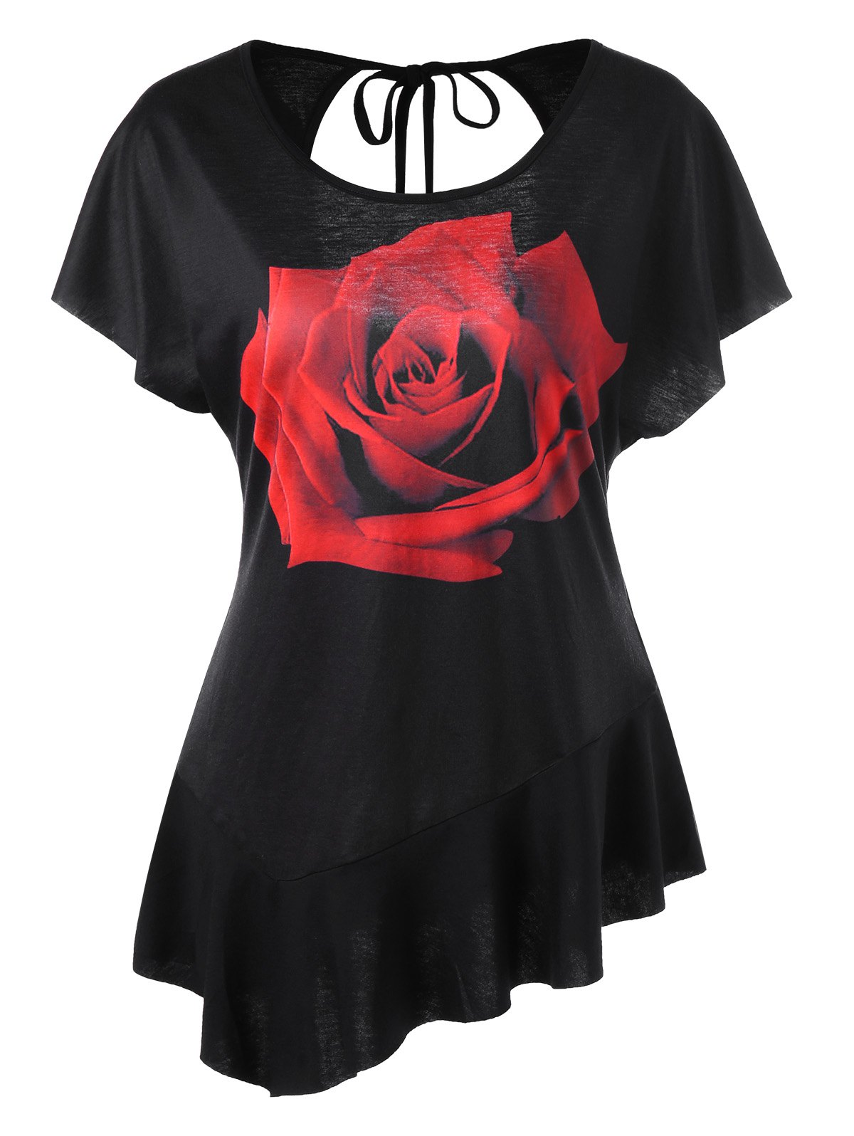 Rose Print Asymmetrical Cut Out T-shirt футболка breathe out rose t shirt черный l