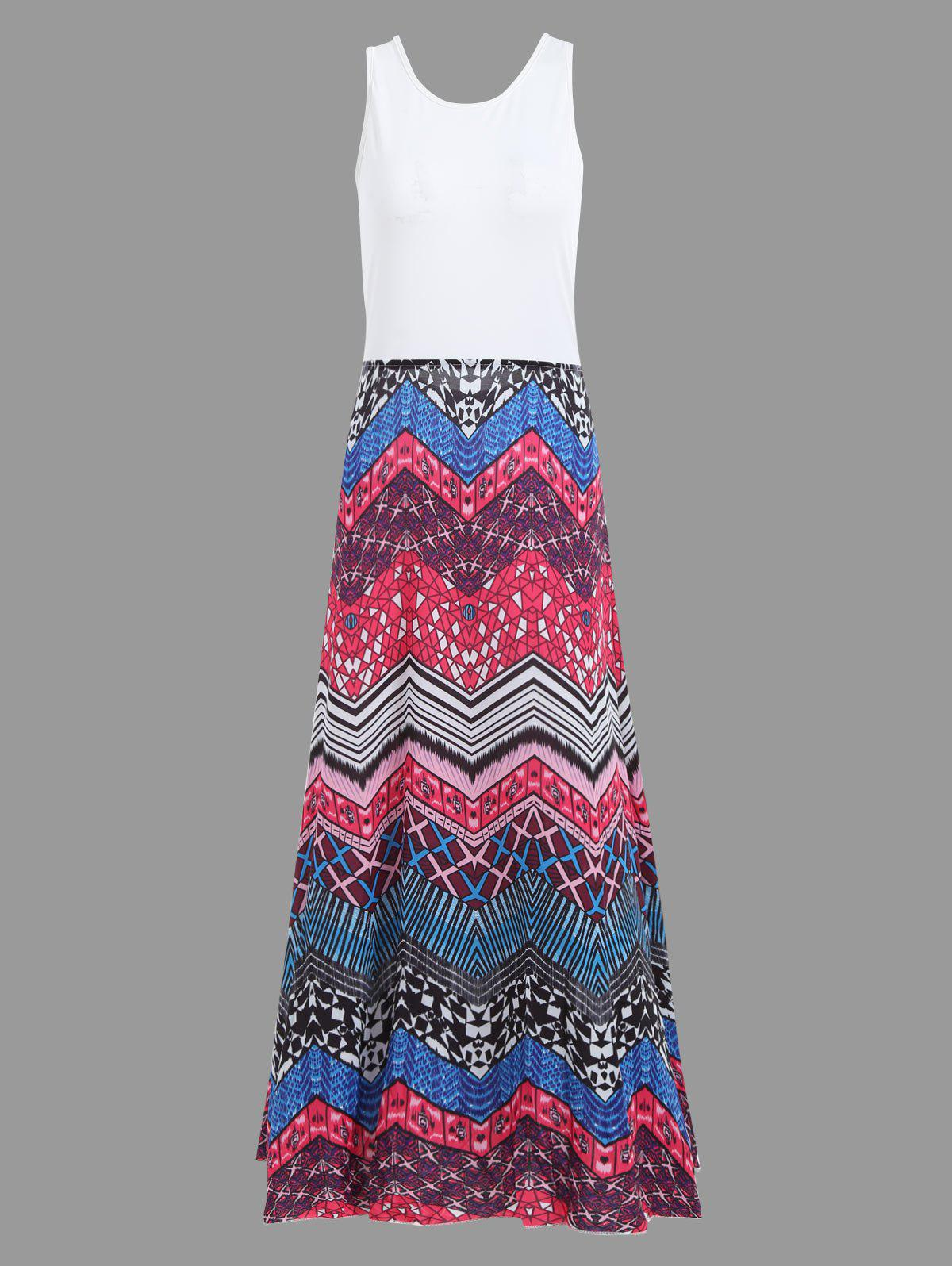 Boho Crisscross Printed A Line Floor Length Dress stylish solid color batwing sleeve asymmetrical tops for women