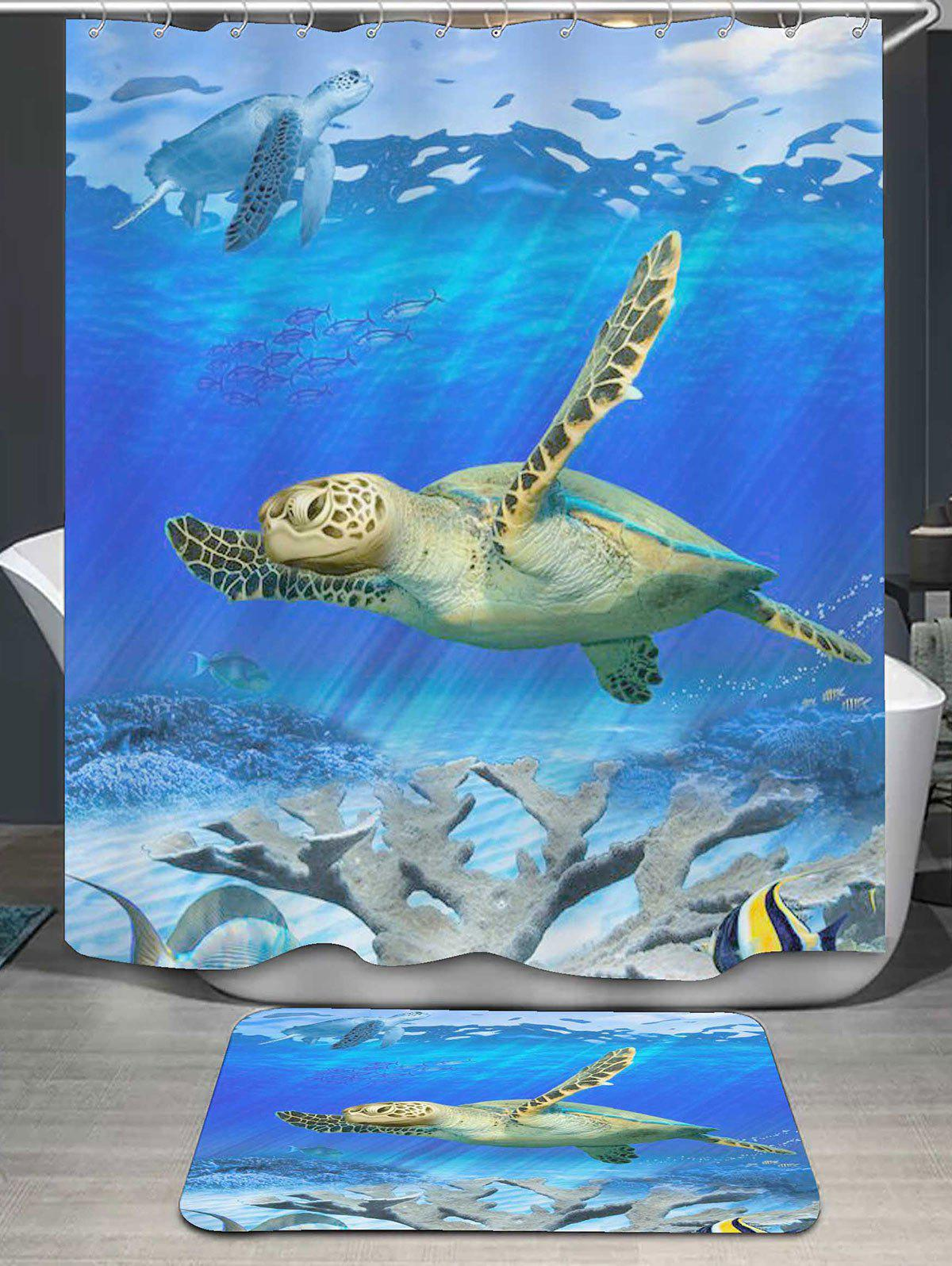 Sea World Turtle Print Bath Curtain and Rug sea world mermaid printed shower curtain